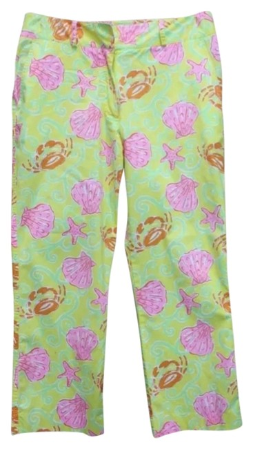 Lilly Pulitzer Cropped Cotton Pants Capris YELLOW/PINK