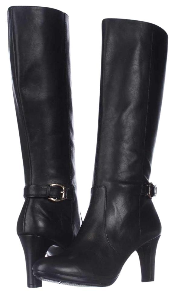 Anne Klein Black Ak Di Strahan Knee High Fashion Leather Di Ak Boots/Booties b682c6