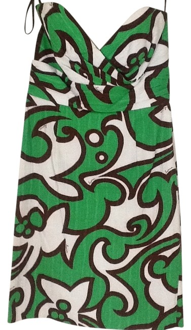 Item - Green Brown and White Strapless Sundress Short Cocktail Dress Size 2 (XS)