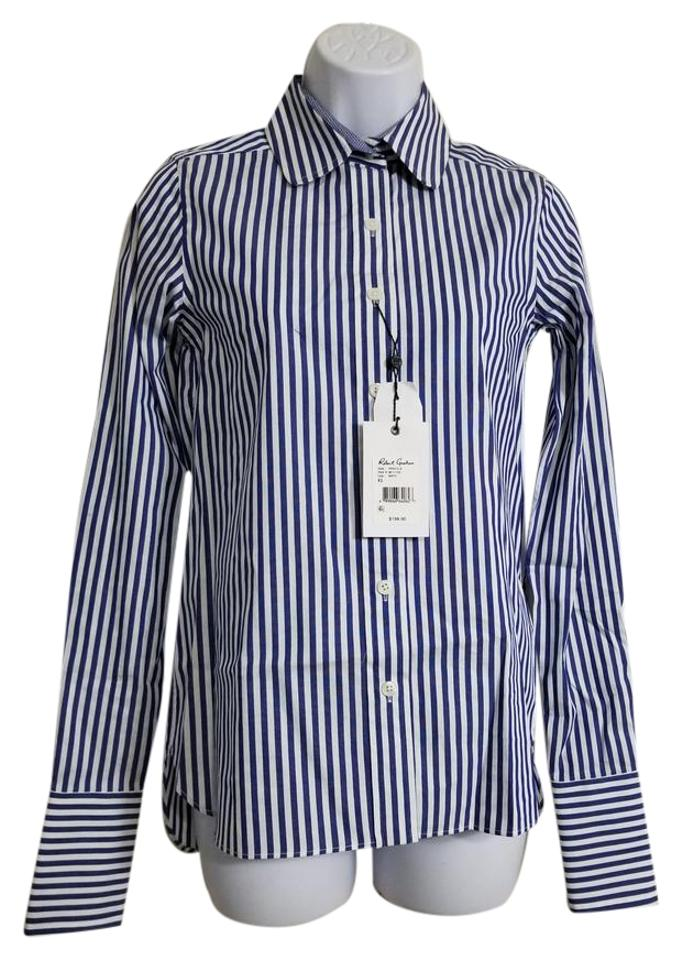 a5f91944 Robert Graham White/Blue Priscilla XS Women's Striped Shirt 198.00  Button-down Top