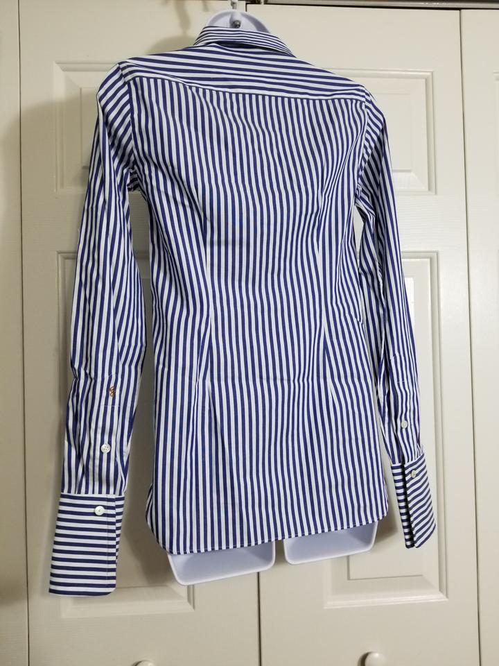 84e0c6ef Robert Graham White/Blue Priscilla XS Women's Striped Shirt 198.00 ...