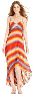 Sunburst Orange Maxi Dress by Calvin Klein Maxi Pleated High Low Strappy