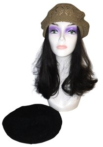 Lace-Knit Beret Duo; Tan and Black [ Roxanne Anjou Closet ]