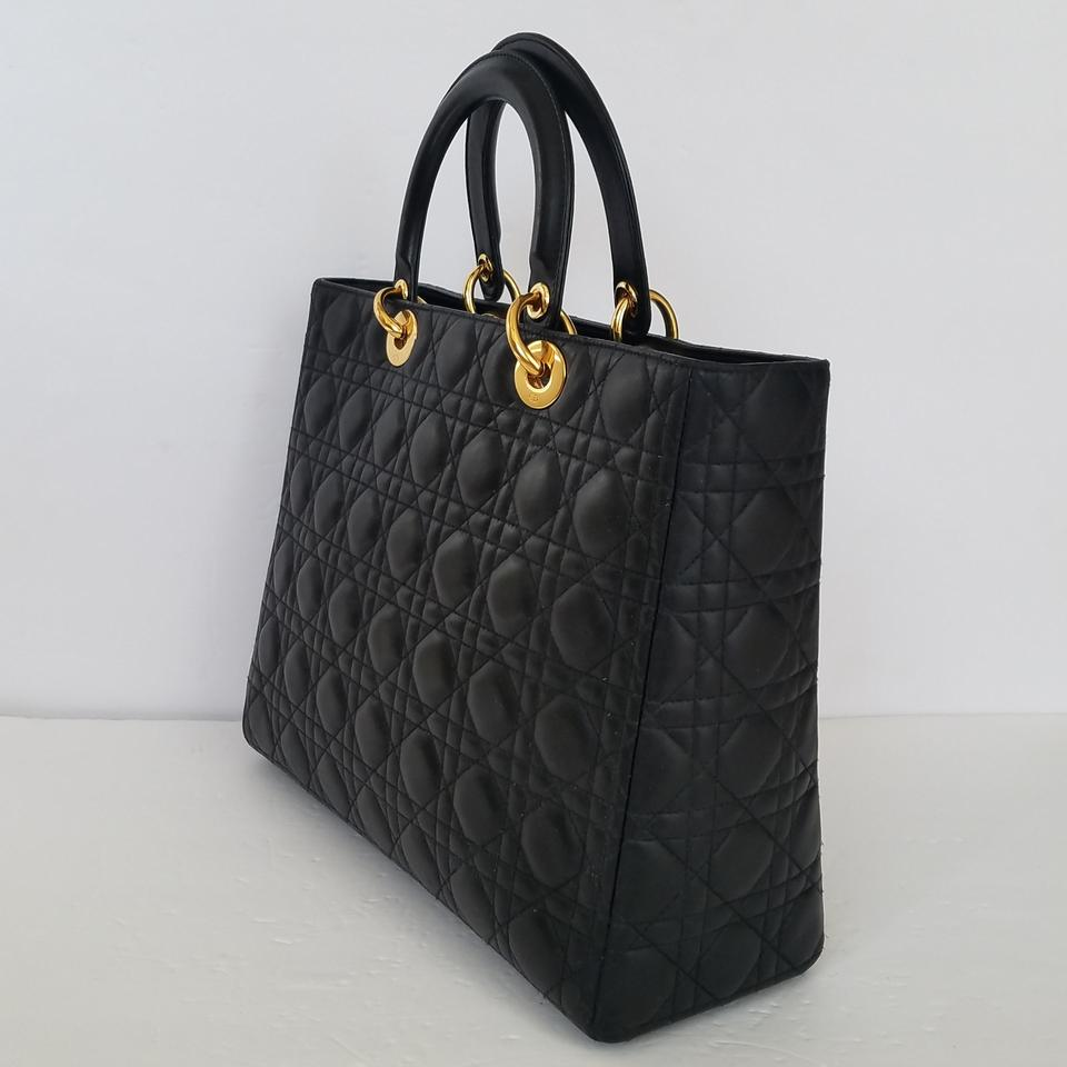 ce62130d08a6 Dior Lady Dior Large Dark Brown Lambskin Leather Tote - Tradesy