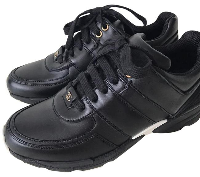Item - Black Cc Logo Leather Lace Up Tennis Trainers Sneakers Size EU 36 (Approx. US 6) Regular (M, B)