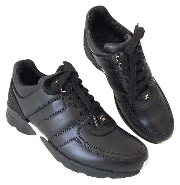 Item - Black Logo Leather Lace Up Tennis Trainers Sneakers Size EU 39 (Approx. US 9) Regular (M, B)