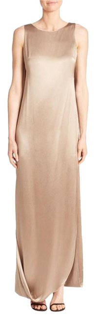 Item - Taupe Brown Heritage Crepe & Satin Draped Gown Long Formal Dress Size 0 (XS)