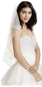 David's Bridal Two Tiered Veil With Beaded Stitched Edge