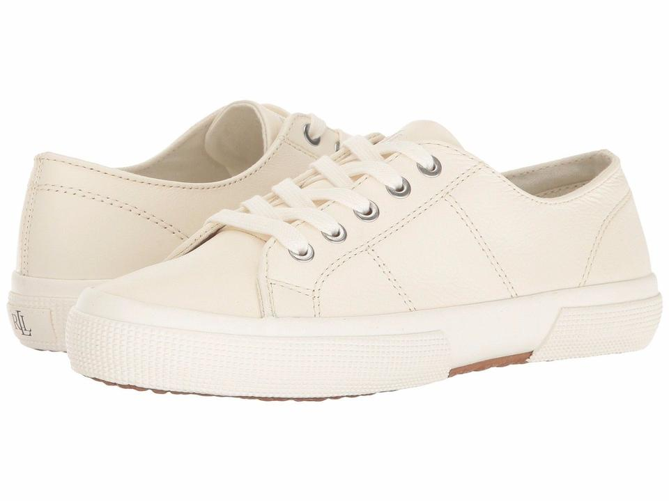 77bd3cba1 Ralph Lauren Cream Polo Jolie Leather Lace-up Sneakers Flats Size US ...