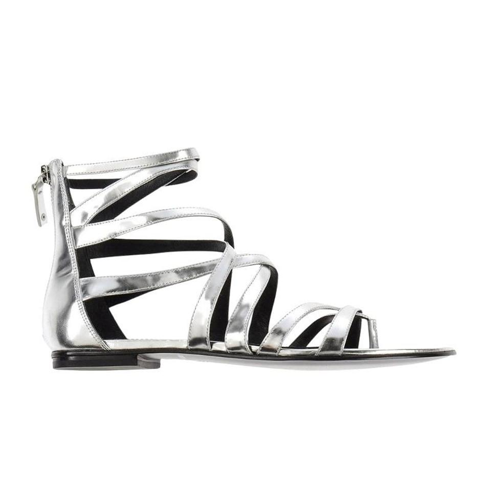 f32a5dfcf85f Balmain Silver New Pierre Strappy Flat Sandals Size EU 39 (Approx ...
