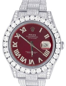 Rolex Datejust Il Full Iced Out 41MM 116300 Red Dial Diamond Watch 21.5 Ct