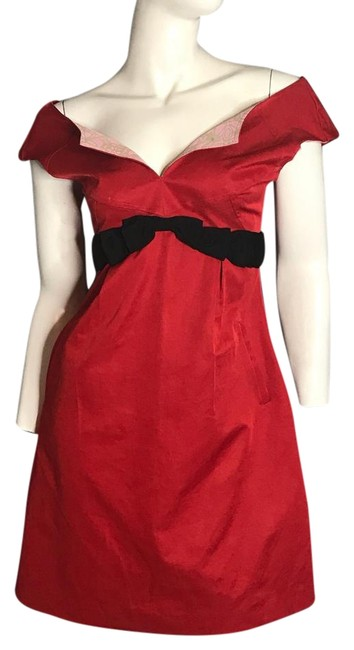 Item - Red Bow Slit Short Casual Dress Size 4 (S)