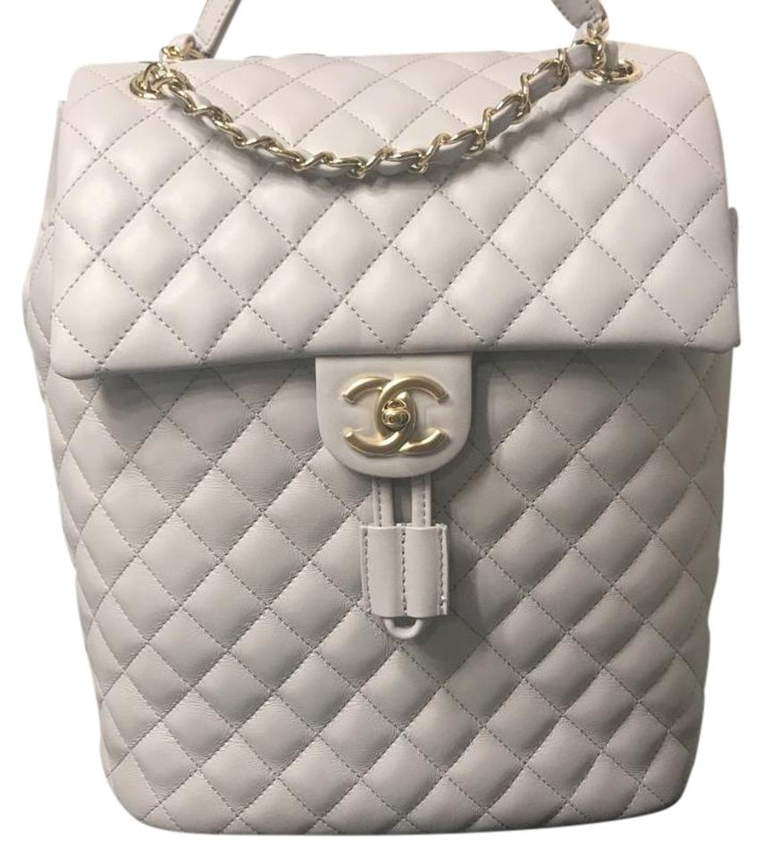a94321b8e406 Chanel Rare Light Gray Lambskin Leather Backpack - Tradesy