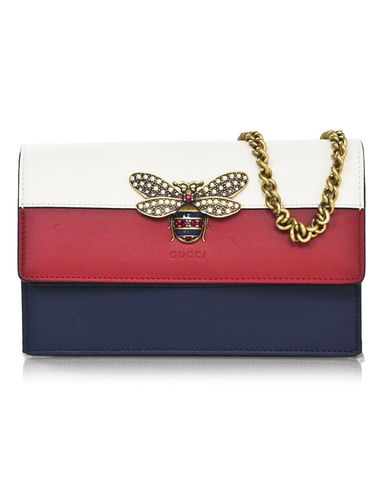 a742f8a4bba Gucci Mini Box Tri-color Queen Margaret Bee with & Db Navy Leather ...