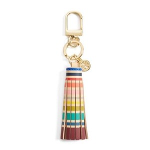 Tory Burch NEW Multi-Color Leather Tassel Key Fob Chain Gold Bag Charm