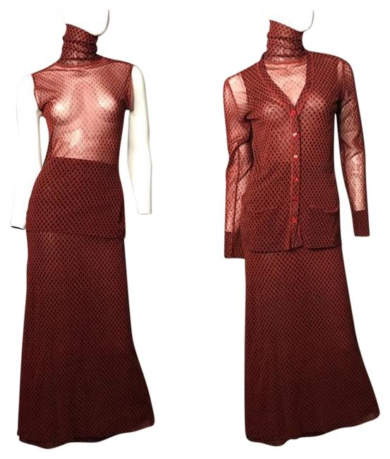 Jean-Paul Gaultier Burnt Red and Black 3 Piece Couture Long Night Out Dress Size 6 (S) Jean-Paul Gaultier Burnt Red and Black 3 Piece Couture Long Night Out Dress Size 6 (S) Image 1