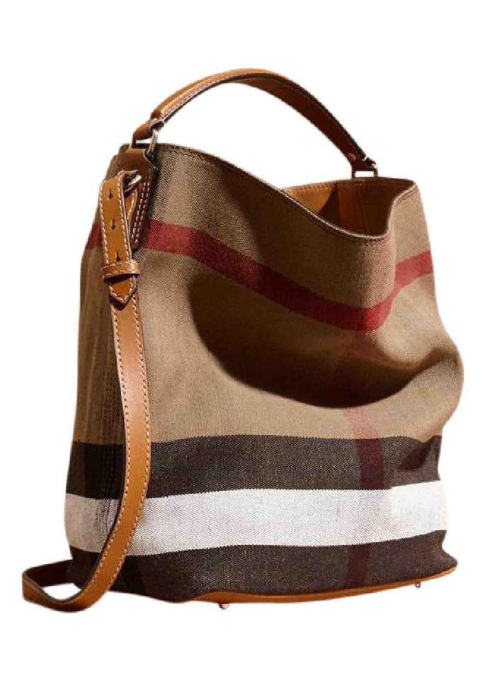 be358e30b Burberry New Ashby Medium House Check Brown Canvas and Leather ...