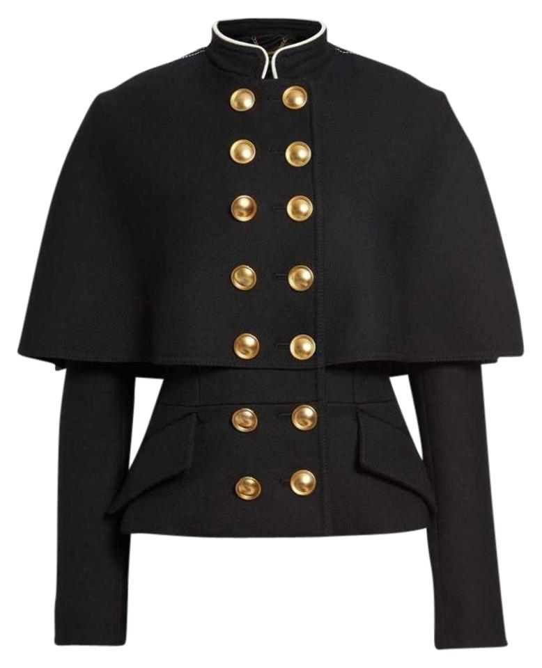 Burberry Black New Tags Prorsum Military Brass Button Wool Cape Jacket Coat  Size 6 (S) 44% off retail