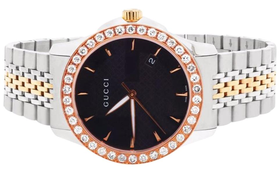 fd807783a08 Gucci Mens G-Timeless Rose  Steel Two Tone 38MM Diamond Watch YA126410 2 Ct  ...