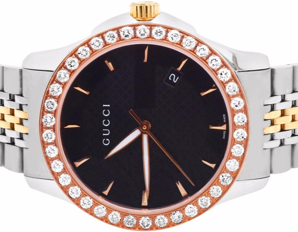 a36a3caad68 Gucci Mens G-Timeless Rose  Steel Two Tone 38MM Diamond Watch YA126410 2 Ct.  1234567