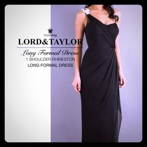 Lord & Taylor Black 1 Swarovski Studded Shoulder Long Black Evening Gown Dress