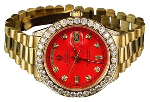 Rolex Mens President 18038 18k Yellow Gold Day-Date Red 6.5 Ct Diamond Watch