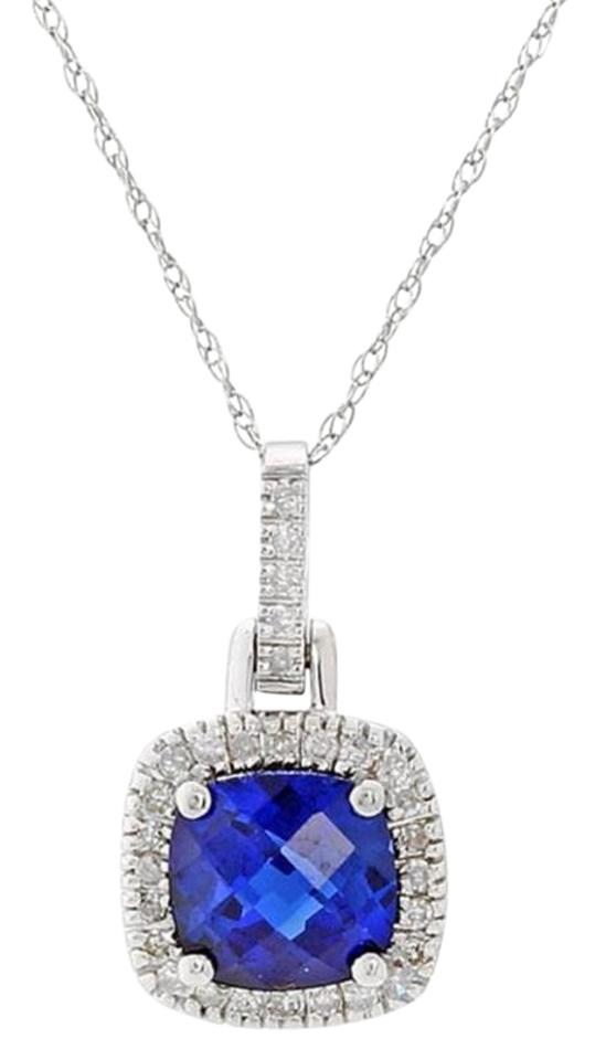 Blue sapphire created diamond halo pendant in 10k white gold rogers hollands blue created sapphire diamond halo pendant in 10k white gold aloadofball Image collections
