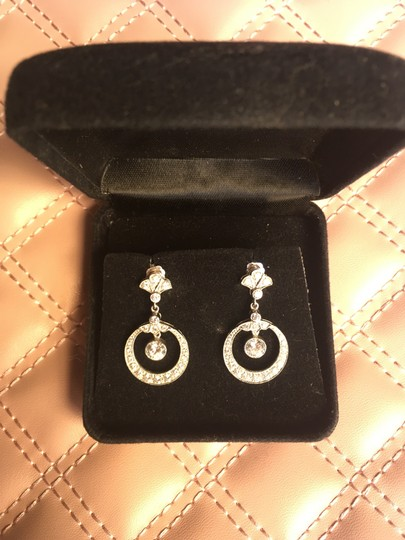 Silver Cubic Zirconia Round Crystal Drop Earrings