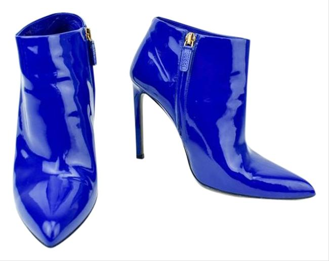 Item - Blue Ankle Leather Logo Boots/Booties - Boots/Booties Size US 9 Regular (M, B)