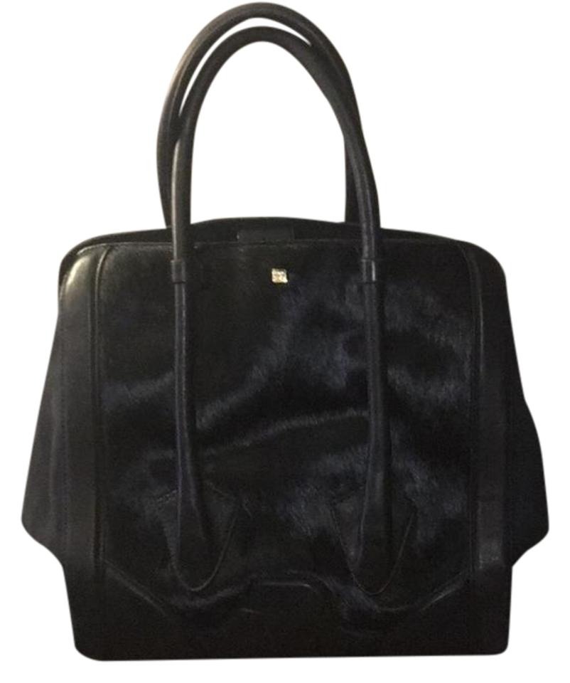 2e3e7cb8442f Pour La Victoire Butler Hair Black Suede and Haircalf Satchel - Tradesy