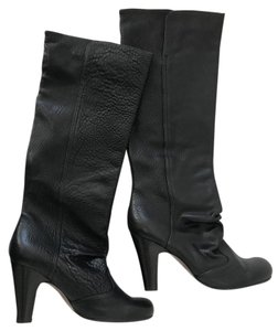 Chie Mihara Leather Tall Slouchy Heel Black Boots