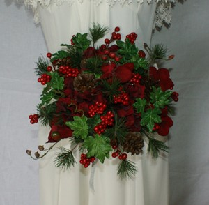 Ruby Red Berries and Greens Wedding Bouquet