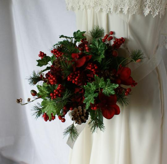 Ruby Red Berries and Greens Wedding Bouquet Image 1