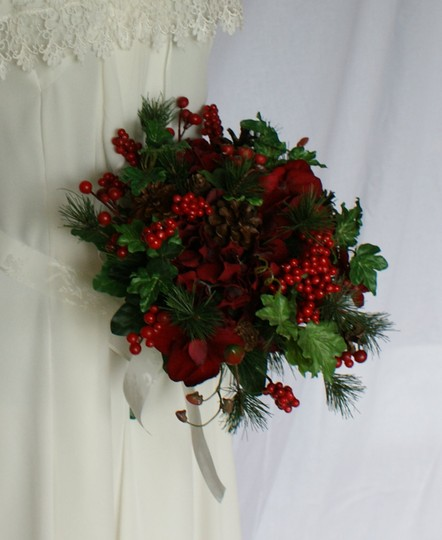 Ruby Red Berries and Greens Wedding Bouquet Image 2