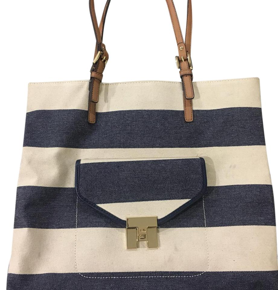 tommy hilfiger striped canvas navy and beige tote bag on tradesy. Black Bedroom Furniture Sets. Home Design Ideas