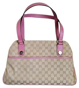 Gucci Monogram Leather Gold Hardware Tote in Pink