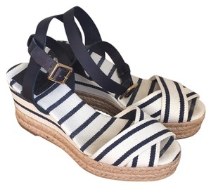 Tory Burch navy blue and white Wedges
