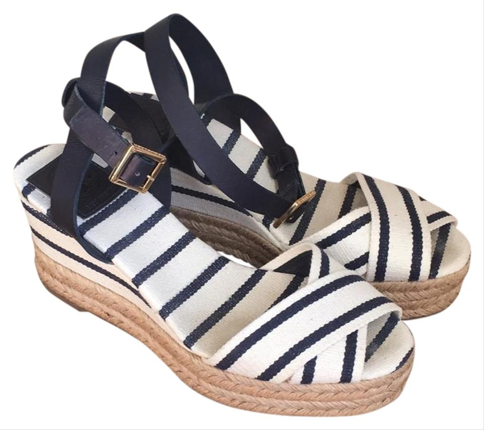 bf3462585710a Tory Burch Navy Blue and White Espadrilles Wedges Size US 7 Regular ...