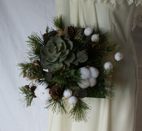 Woodland Succulent Silk Wedding Bouquet Image 4