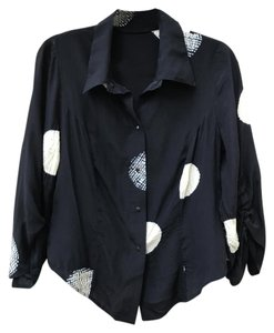 Babette Printed Silk 3/4 Sleeves Button Down Shirt Black