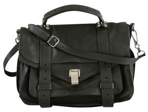 Proenza Schouler Leather Silver Hardware Satchel in Military