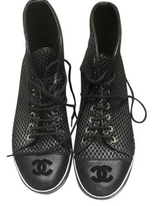 Chanel Womens High Top Sneakers Black Athletic