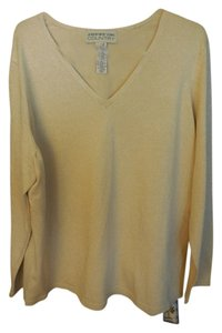 Jones New York Sparkle Pullover Plus-size Dressy Comfortable Top Gold