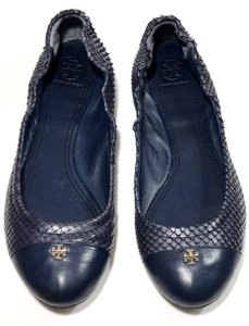 Tory Burch York Snake Print Blue Flats