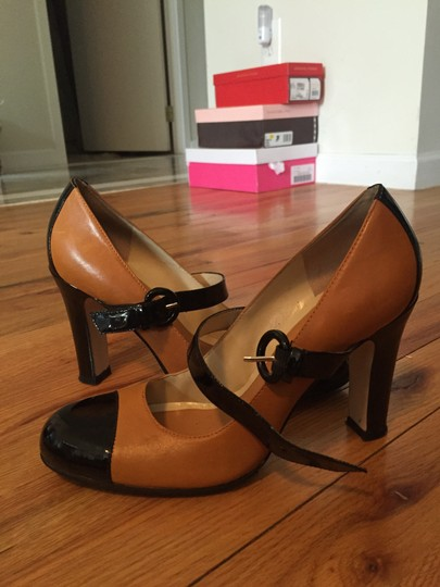 Enzo Angiolini Mary Jane Leather Nude and Black Pumps
