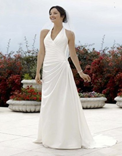 David's Bridal Ivory Satin Halter Draped A Line Gown V3189 Modern Wedding Dress Size 4 (S)