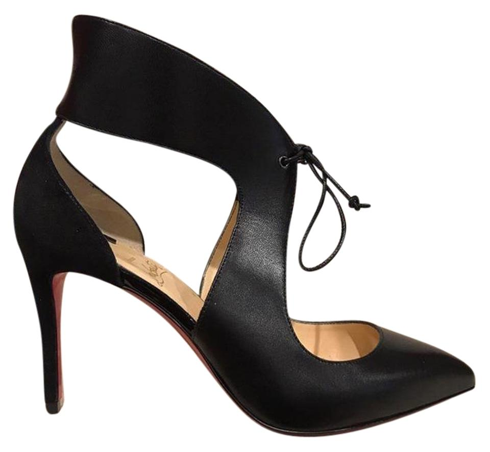 f74b3ae12f8d Christian Louboutin Black Ferme Rouge 85 Leather Lace Up Heel Pumps ...