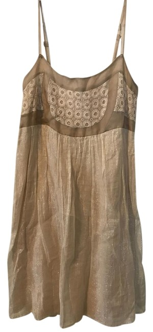 Item - Cream with Gold Thread Left Of Center Mid-length Cocktail Dress Size 4 (S)