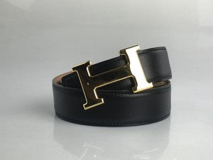 Herms Noir and Gold Reversible 32mm Constance Belt