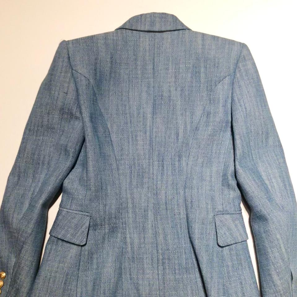 Balmain Blue Double Breast Cotton Tweed Gold Buttons Jacket 38/6 ...